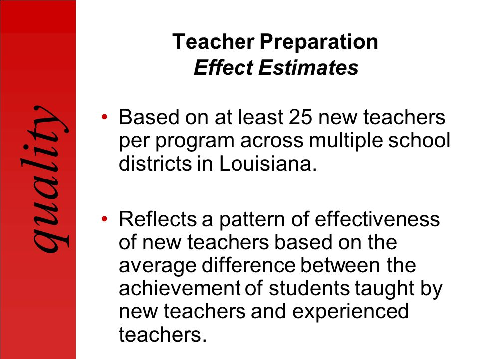 quality Teacher Preparation Effect Estimates Based on at least 25 new teachers per program across multiple school districts in Louisiana. Reflects a p
