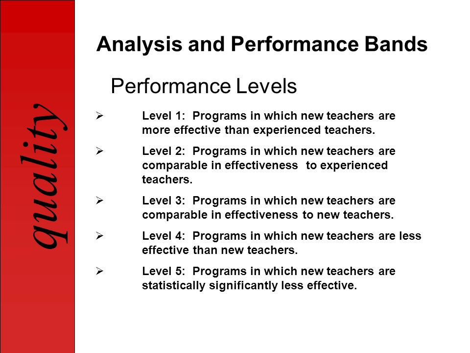 quality Analysis and Performance Bands Performance Levels Level 1: Programs in which new teachers are more effective than experienced teachers. Level
