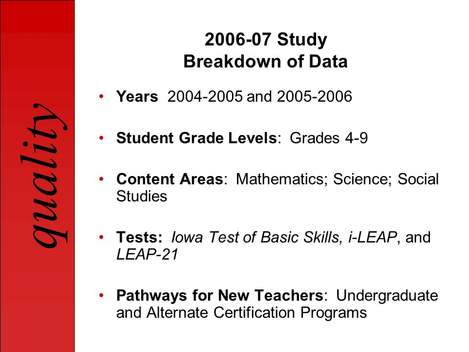quality State Research Team Qualitative Research Study Teacher Preparation Curriculum Audit Organizational Structure and Admission Requirements for Teacher Preparation Programs Audit Teacher Survey (Student Teachers and Year 2 Teachers) Mentor Survey (Student Teacher Mentors and Year 2 Teacher Mentors) Observations (Student Teachers and Year 2 Teachers) Disposition Survey (Student Teachers and Teacher Researchers) In-depth Observations and In-depth Interviews (Teacher Researchers) School Working Conditions Audit (Teacher Researchers)