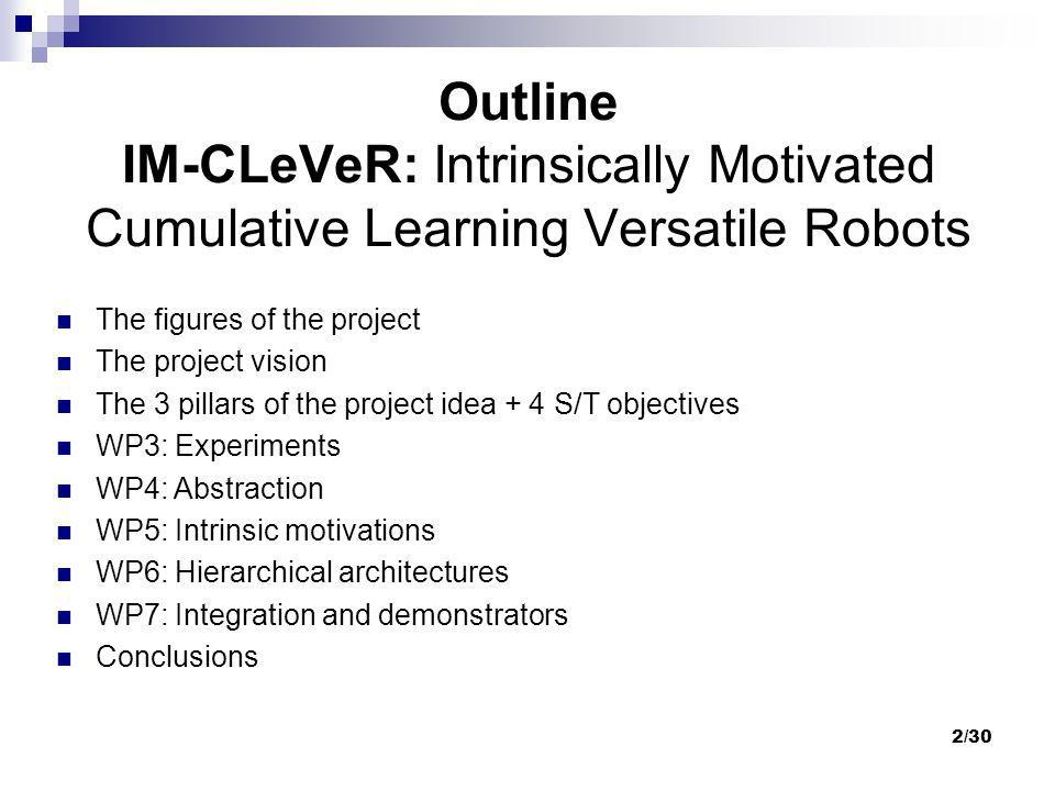 3/30 Outline IM-CLeVeR: Intrinsically Motivated Cumulative Learning Versatile Robots Integrated project Call: Cognitive Systems, Interactions and Robotics EU funds: 5.9 ml euros 7 (8) partners Start: May 2009 End: April 2013