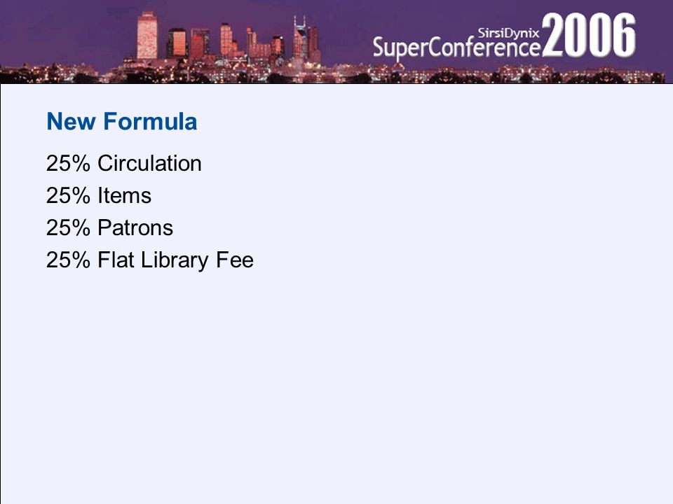 New Formula 25% Circulation 25% Items 25% Patrons 25% Flat Library Fee