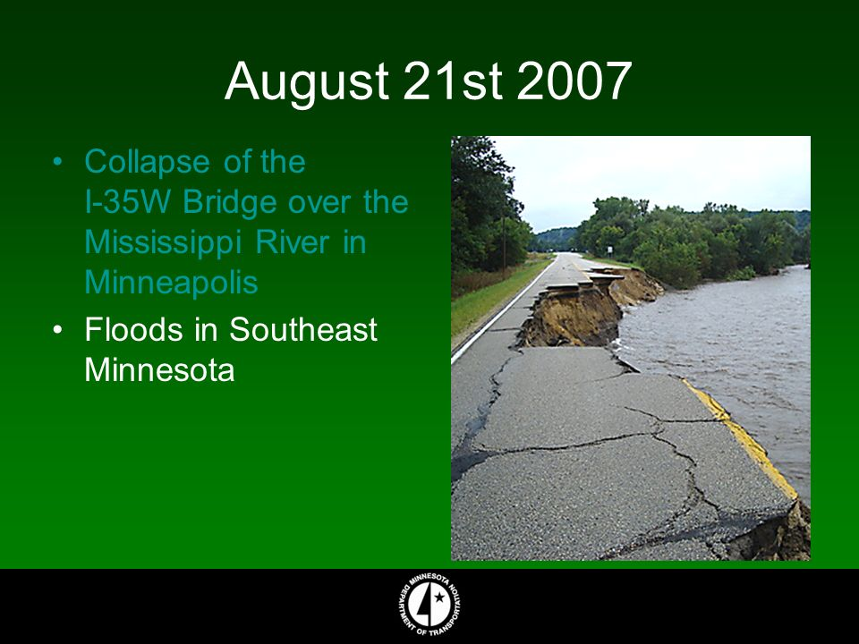 August 21st 2007 Collapse of the I-35W Bridge over the Mississippi River in Minneapolis Floods in Southeast Minnesota