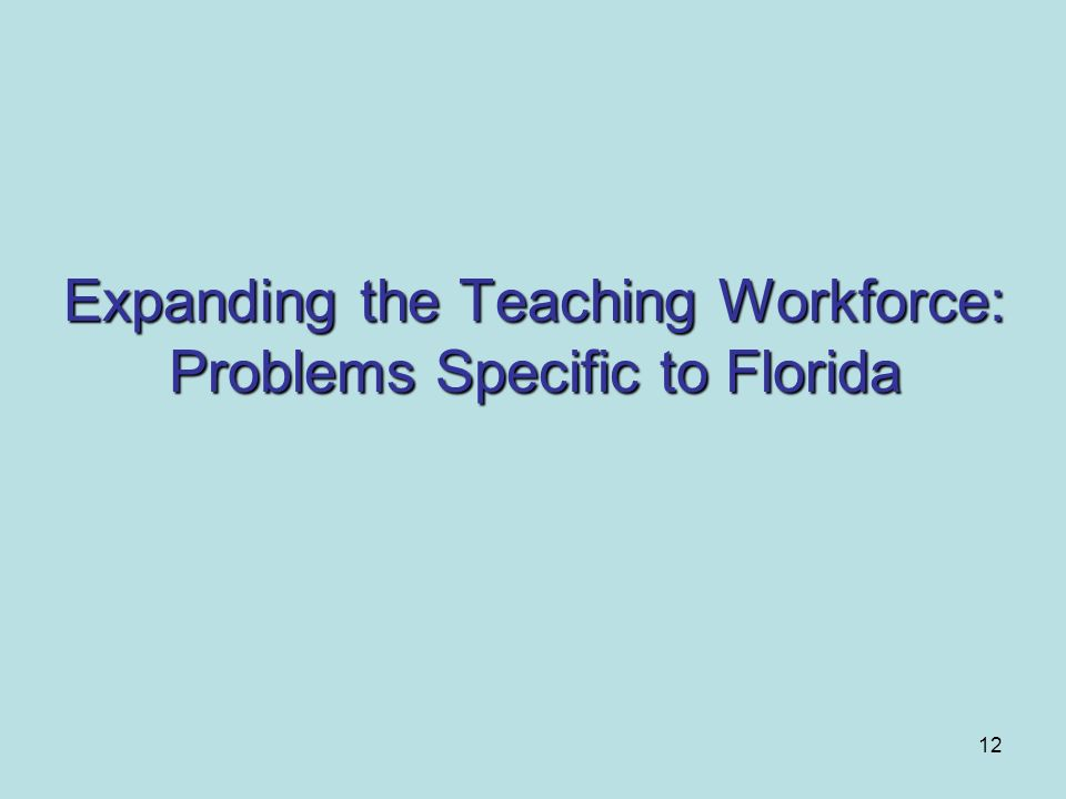 12 Expanding the Teaching Workforce: Problems Specific to Florida