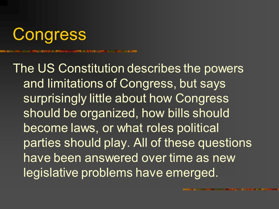 In this activity Each group will be presented with problems that Congress has faced and will come up with a reasonable solution.
