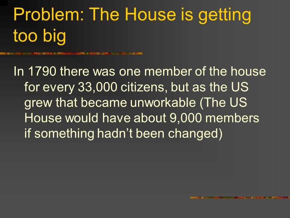 Problem: The House is getting too big In 1790 there was one member of the house for every 33,000 citizens, but as the US grew that became unworkable (