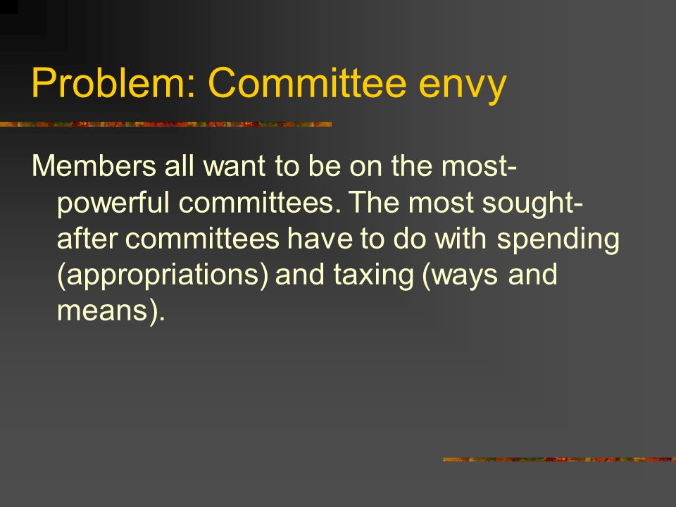 Solution: Party leaders The majority party allocates committee seats according to party (with the majority party giving itself more than 50 percent of the seats in every committee – example the House Ways and Means committee has 24 Republicans and 17 Democrats) Members then request what committees they would like to be on The House Speaker and Senate Majority Leader allocate seats to majority party members The Minority Leaders (in the House and Senate) allocate seats to minority party members