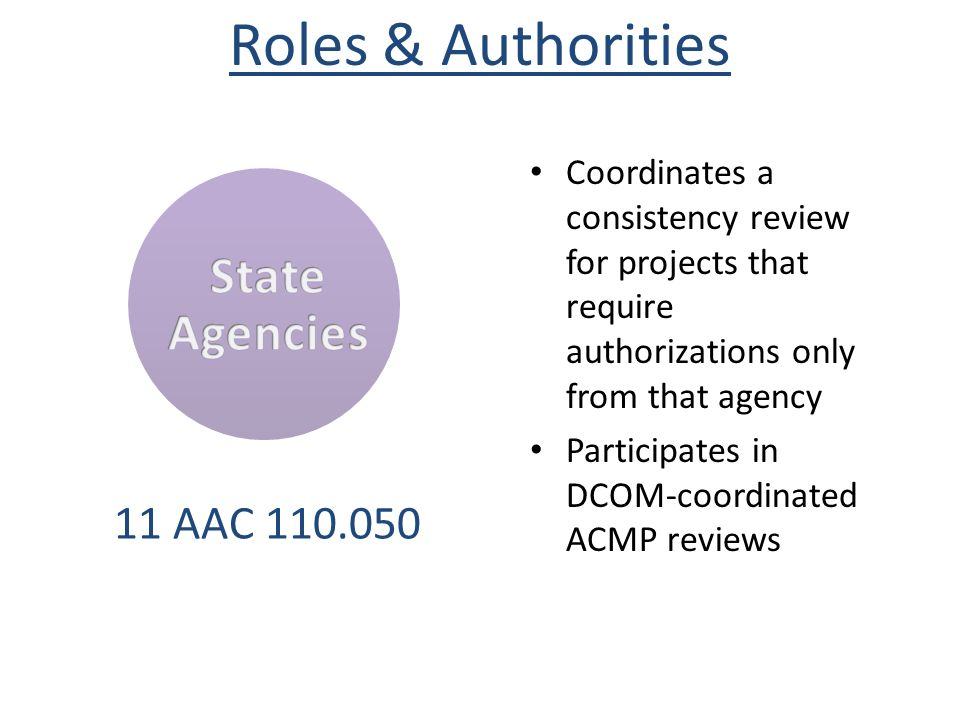Coordinates a consistency review for projects that require authorizations only from that agency Participates in DCOM-coordinated ACMP reviews 11 AAC 1