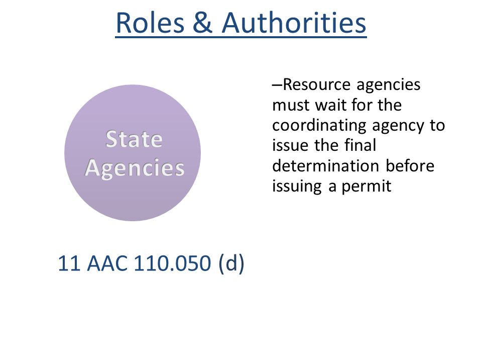 – Resource agencies must wait for the coordinating agency to issue the final determination before issuing a permit 11 AAC 110.050 Roles & Authorities