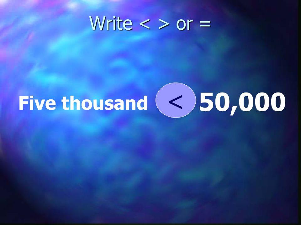 Write or = Five thousand 50,000 <