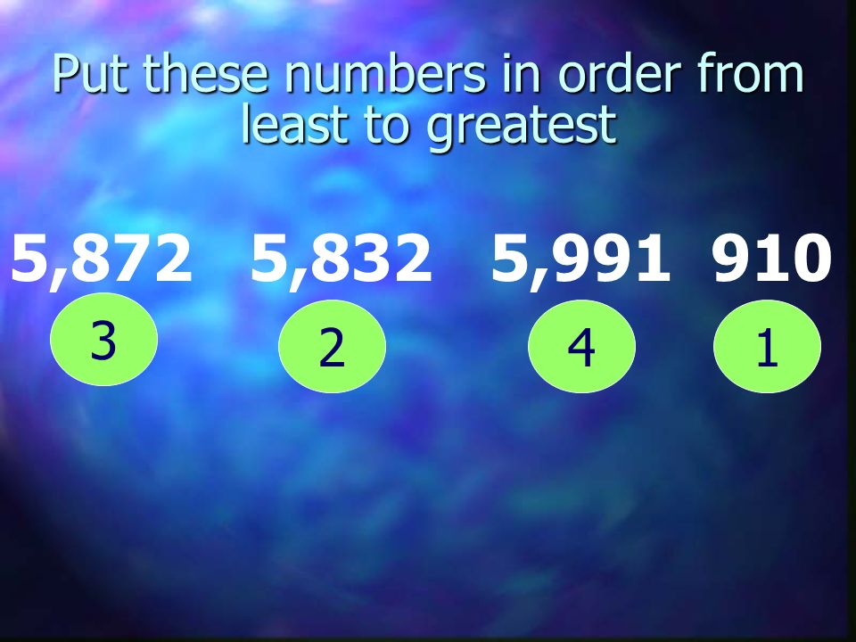 Put these numbers in order from least to greatest 5,872 5,832 5,991 910 12 3 4