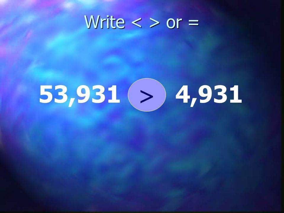 Write or = 53,931 4,931 >