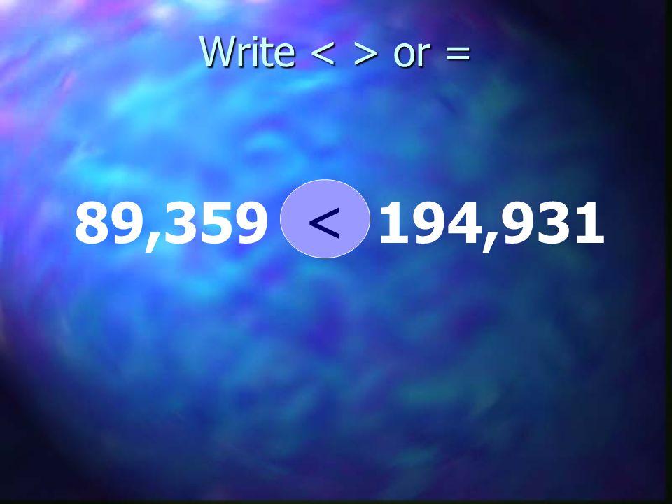 Write or = 89,359 194,931 <