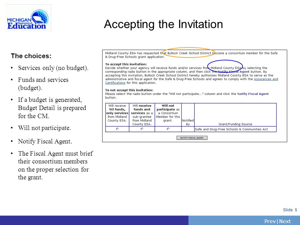 PrevNext | Slide 5 The choices: Services only (no budget).