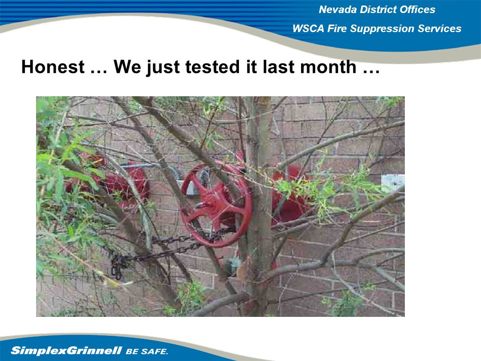 2007 Western Operations Roundup 2007 Western Operations Nevada District Offices WSCA Fire Suppression Services Honest … We just tested it last month …