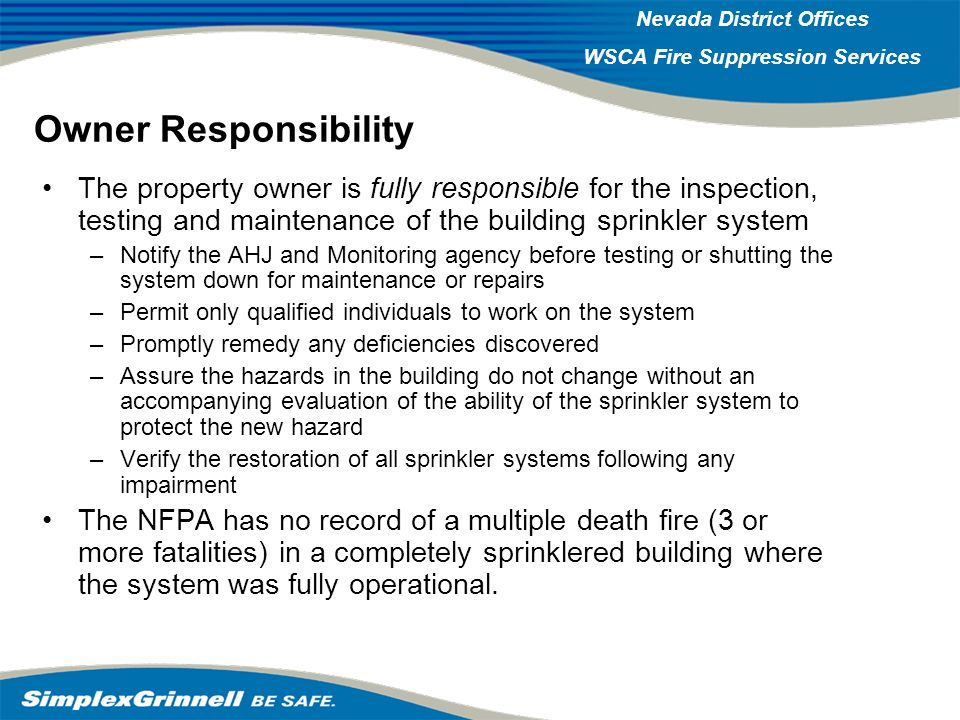 2007 Western Operations Roundup 2007 Western Operations Nevada District Offices WSCA Fire Suppression Services Owner Responsibility The property owner