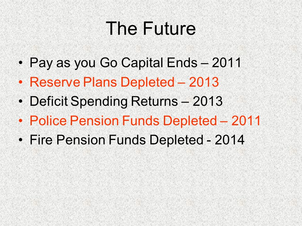The Future Pay as you Go Capital Ends – 2011 Reserve Plans Depleted – 2013 Deficit Spending Returns – 2013 Police Pension Funds Depleted – 2011 Fire Pension Funds Depleted - 2014