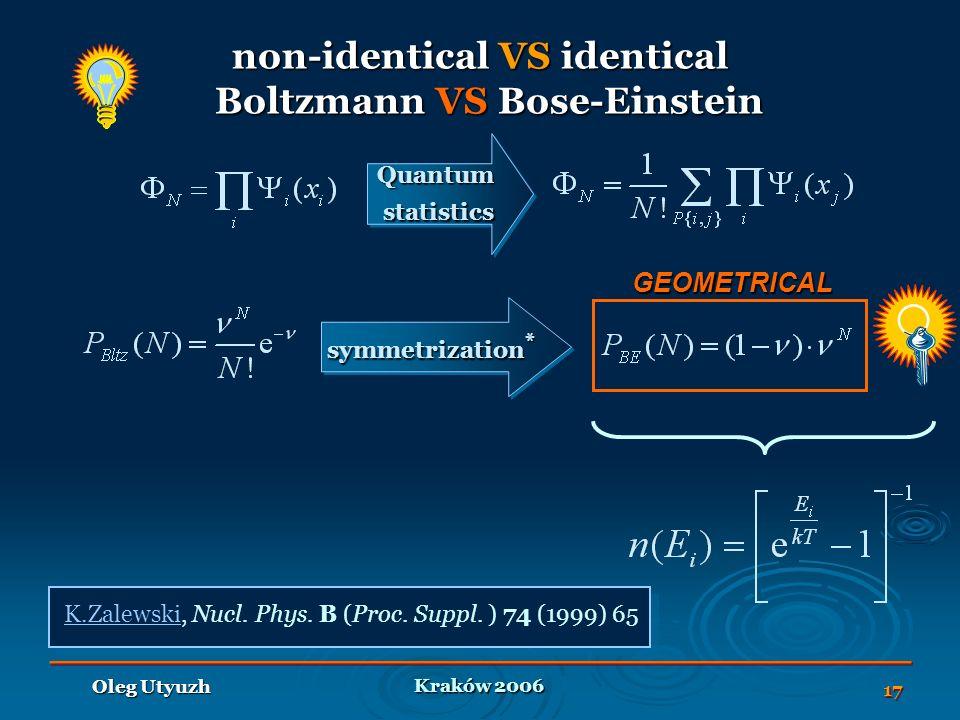 Kraków 2006 Oleg Utyuzh 17 symmetrization * non-identical VS identical Boltzmann VS Bose-Einstein QuantumstatisticsQuantumstatistics GEOMETRICAL K.ZalewskiK.Zalewski, Nucl.