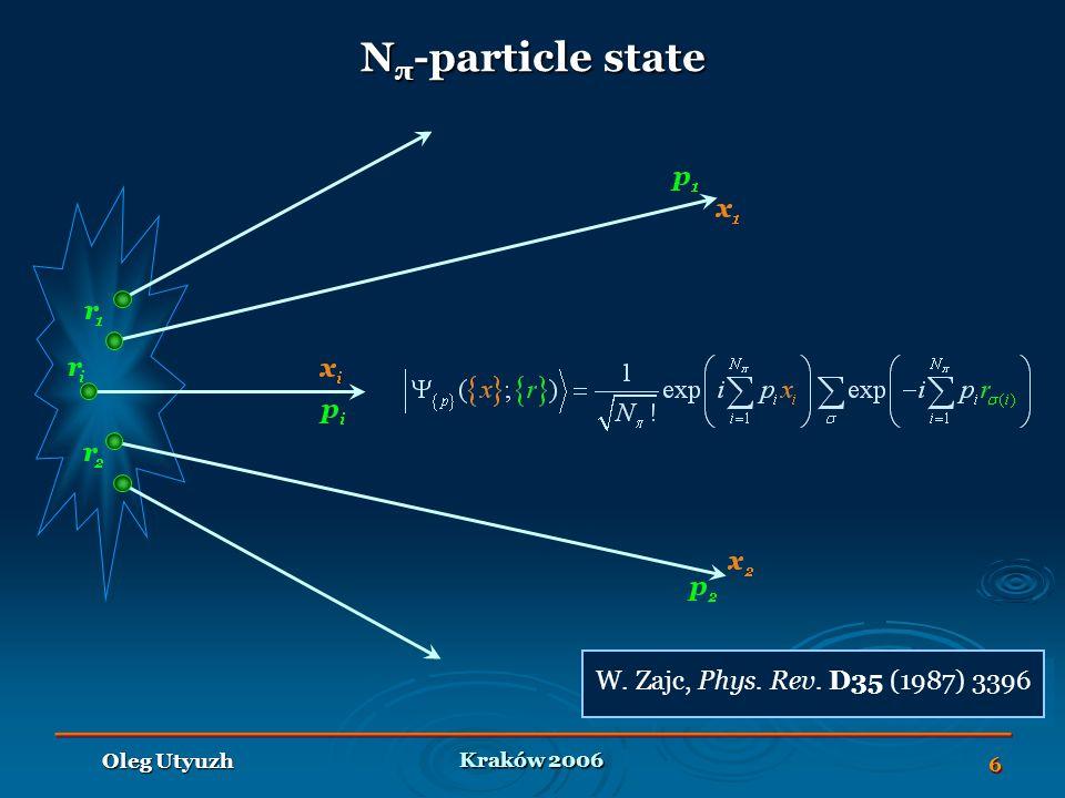Kraków 2006 Oleg Utyuzh 6 W. Zajc, Phys. Rev. D35 (1987) 3396 N π -particle state