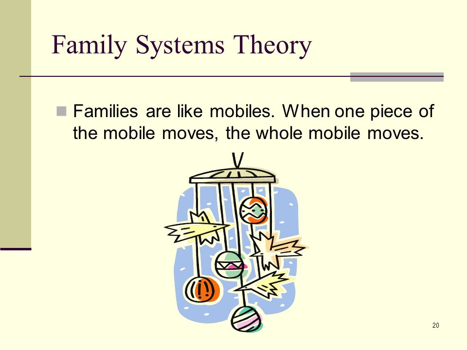 20 Family Systems Theory Families are like mobiles. When one piece of the mobile moves, the whole mobile moves.