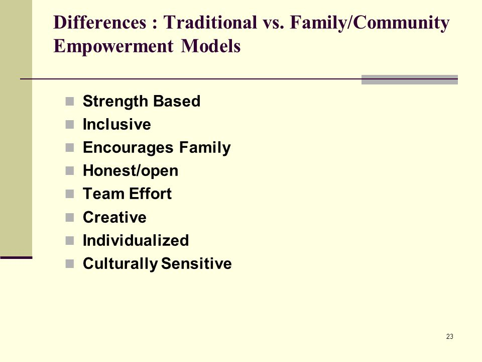 23 Strength Based Inclusive Encourages Family Honest/open Team Effort Creative Individualized Culturally Sensitive Differences : Traditional vs. Famil