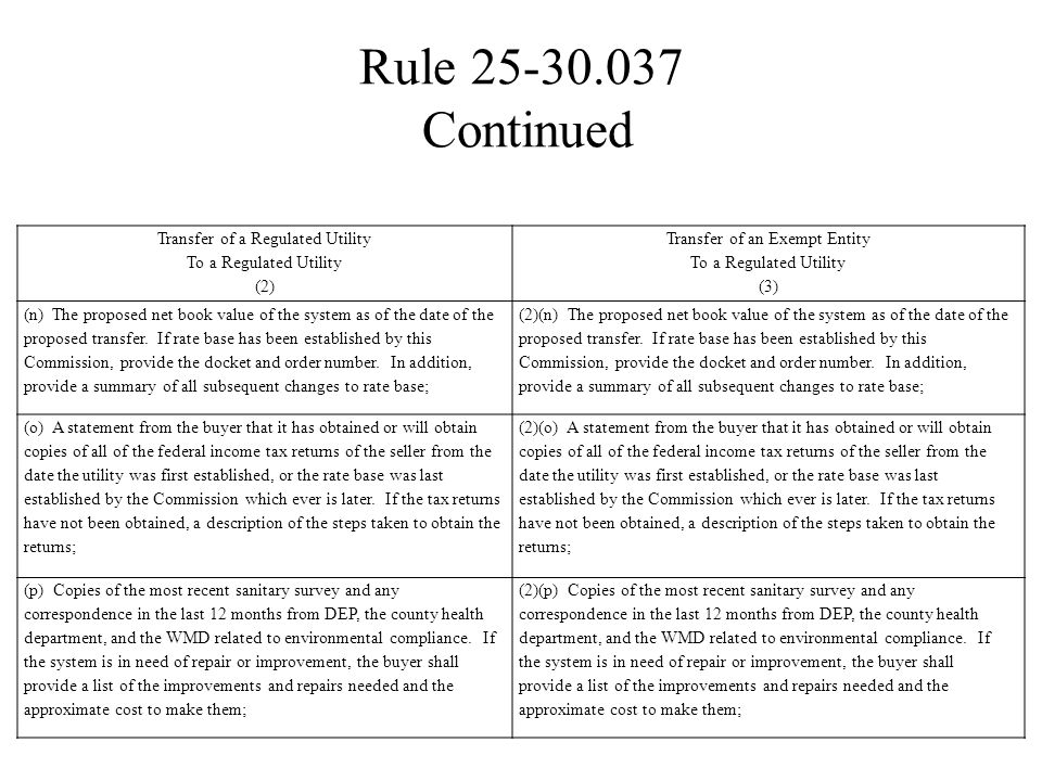 Rule 25-30.037 Continued Transfer of a Regulated Utility To a Regulated Utility (2) Transfer of an Exempt Entity To a Regulated Utility (3) (n) The pr