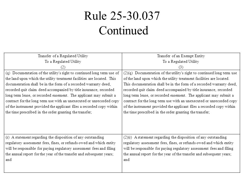 Rule 25-30.037 Continued Transfer of a Regulated Utility To a Regulated Utility (2) Transfer of an Exempt Entity To a Regulated Utility (3) (q) Docume