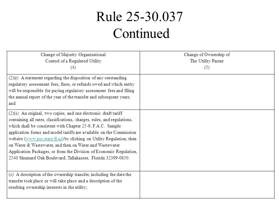 Rule 25-30.037 Continued Change of Majority Organizational Control of a Regulated Utility (4) Change of Ownership of The Utility Parent (5) (2)(r) A s
