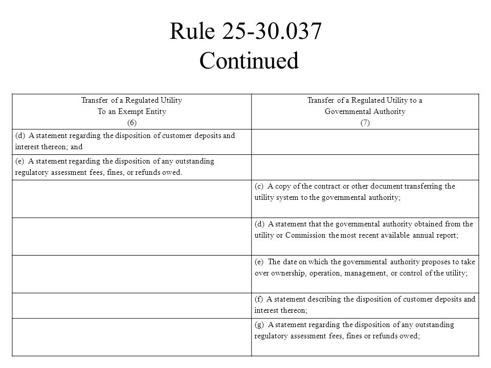 Rule 25-30.037 Continued Transfer of a Regulated Utility To an Exempt Entity (6) Transfer of a Regulated Utility to a Governmental Authority (7) (d) A