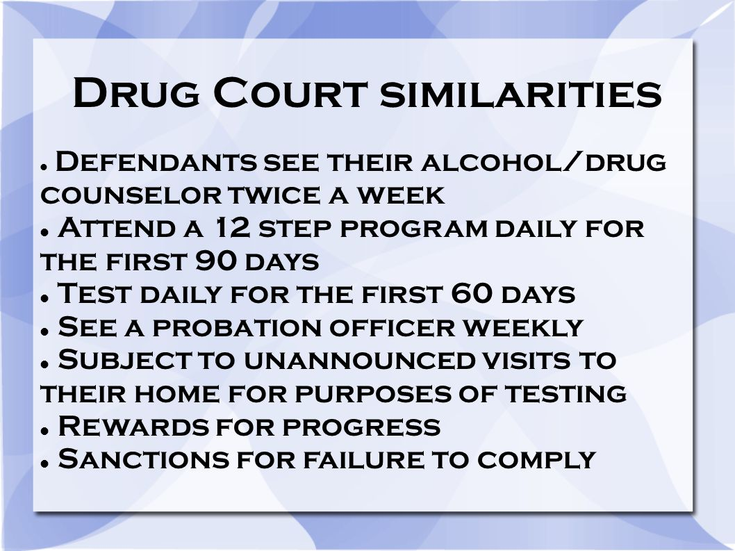 Drug Court similarities Defendants see their alcohol/drug counselor twice a week Attend a 12 step program daily for the first 90 days Test daily for t