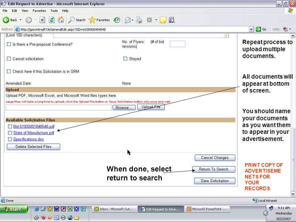 Repeat process to upload multiple documents. All documents will appear at bottom of screen.