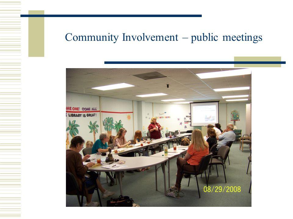 Community Involvement – public meetings