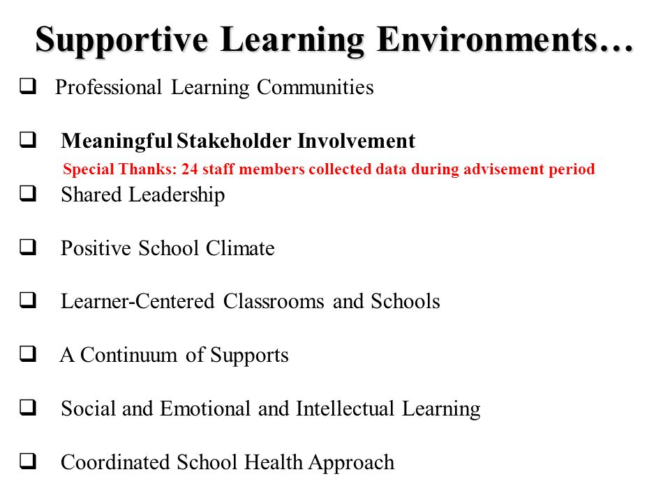 Supportive Learning Environments… Professional Learning Communities Meaningful Stakeholder Involvement Special Thanks: 24 staff members collected data