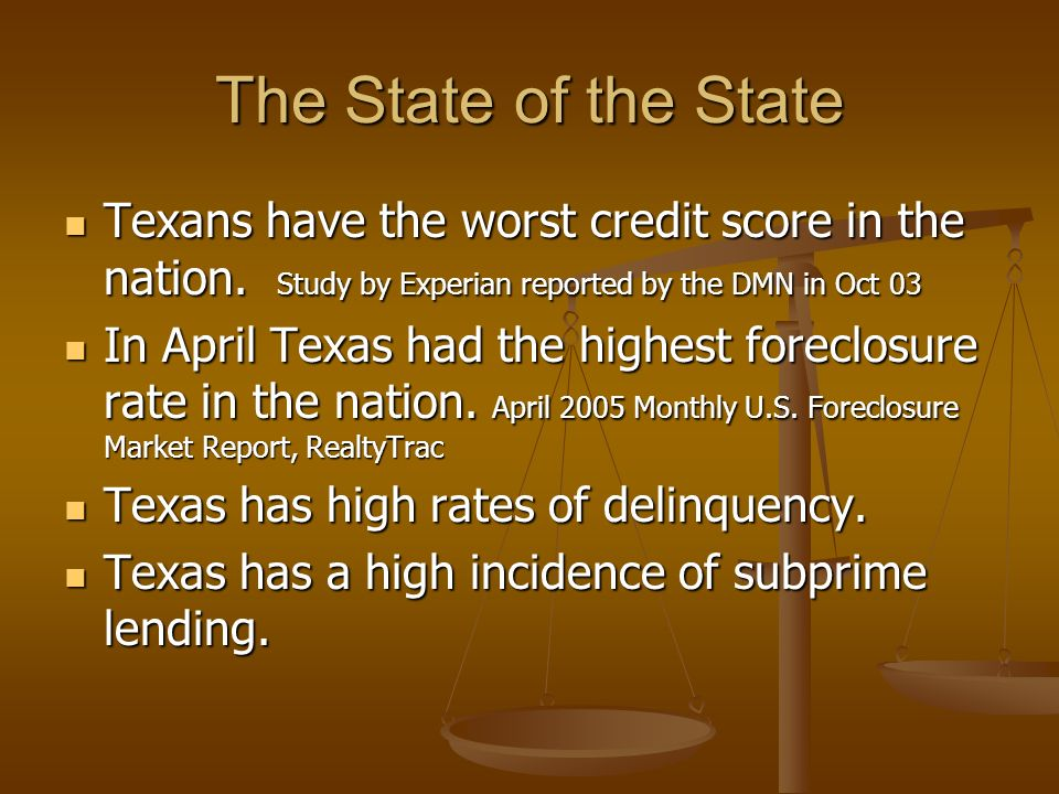 The State of the State Texans have the worst credit score in the nation.