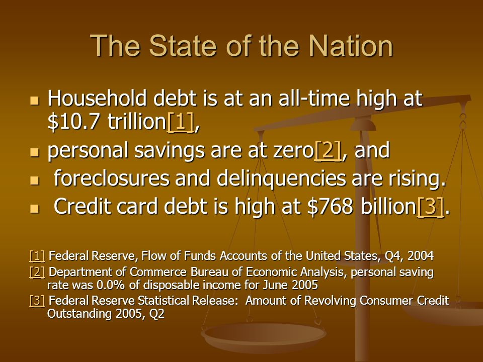 The State of the Nation Household debt is at an all-time high at $10.7 trillion[1], Household debt is at an all-time high at $10.7 trillion[1],[1] per
