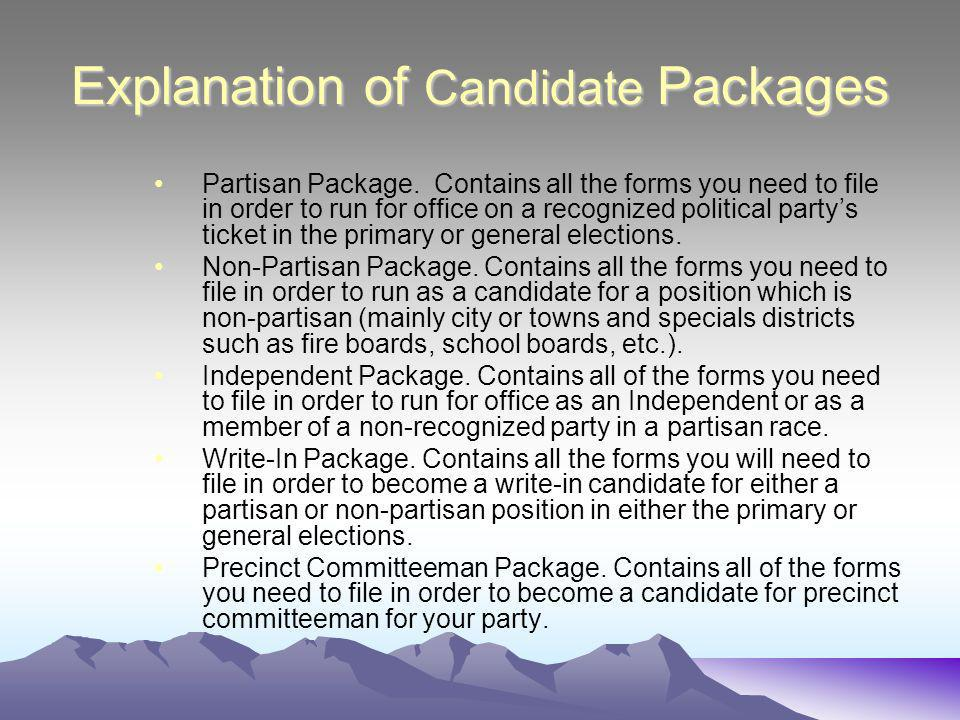 Explanation of Candidate Packages Partisan Package.