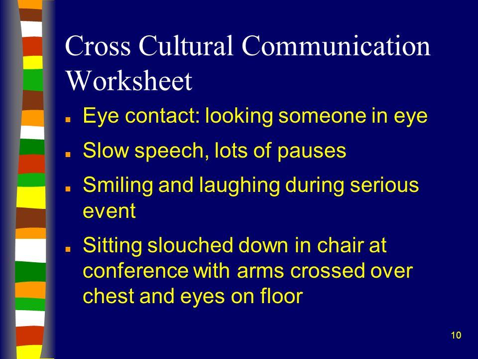 10 Cross Cultural Communication Worksheet n Eye contact: looking someone in eye n Slow speech, lots of pauses n Smiling and laughing during serious ev