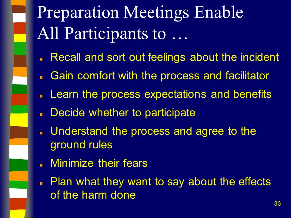 33 Preparation Meetings Enable All Participants to … n Recall and sort out feelings about the incident n Gain comfort with the process and facilitator