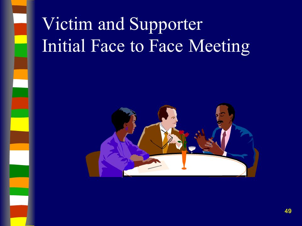 49 Victim and Supporter Initial Face to Face Meeting