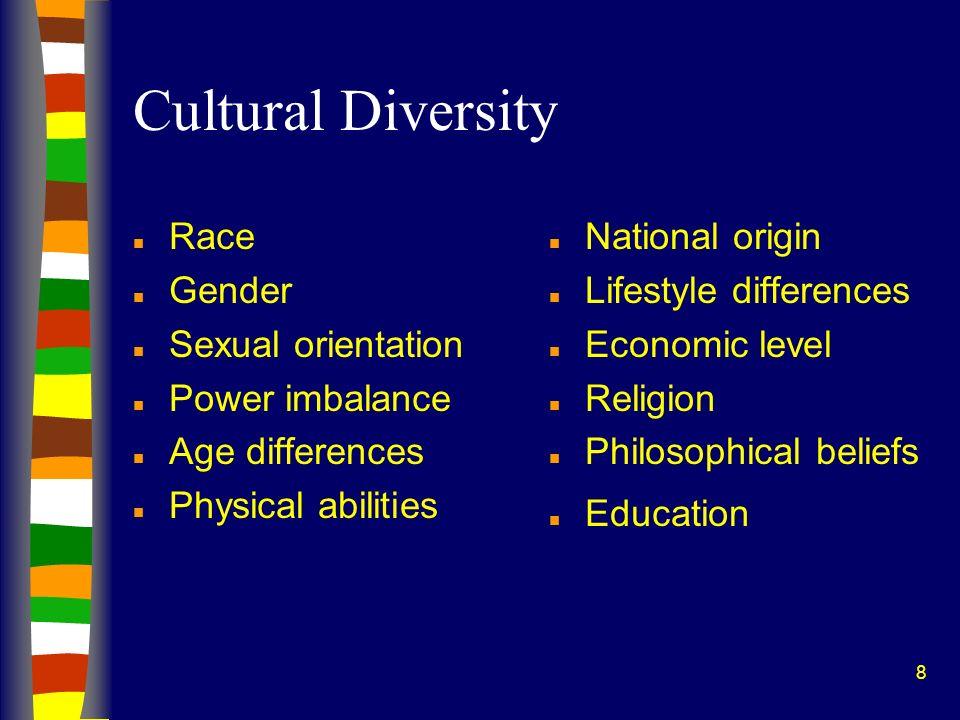 8 Cultural Diversity n Race n Gender n Sexual orientation n Power imbalance n Age differences n Physical abilities n National origin n Lifestyle diffe