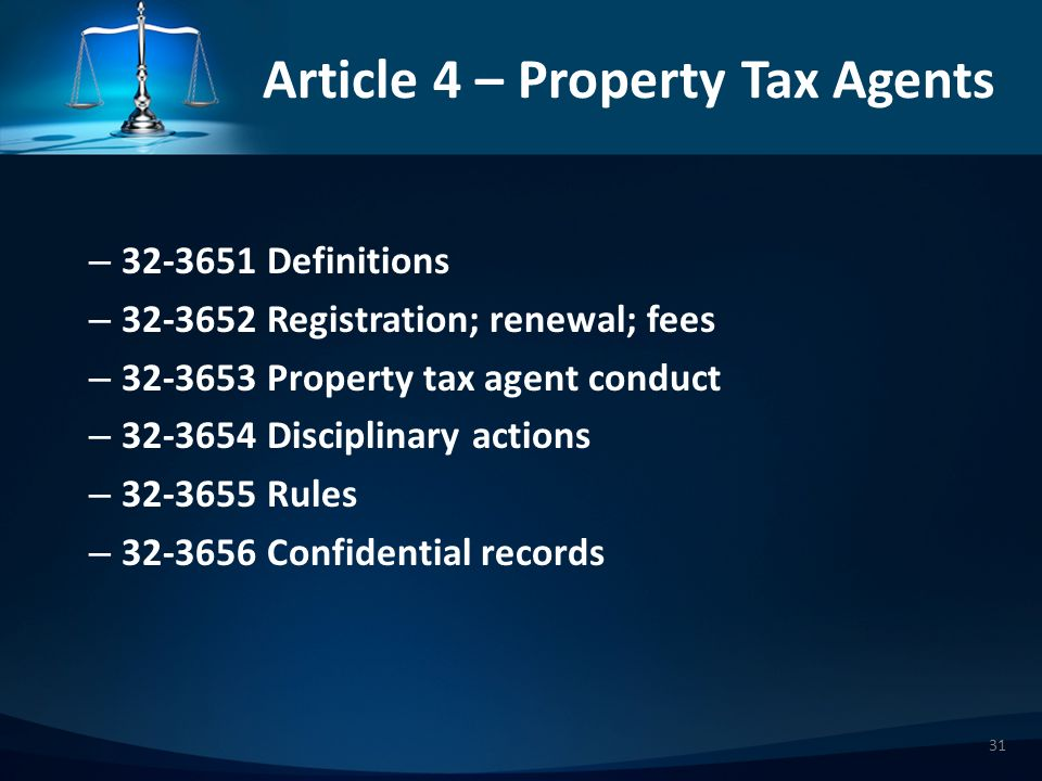 Article 4 – Property Tax Agents – 323651 Definitions – 323652 Registration; renewal; fees – 323653 Property tax agent conduct – 323654 Disciplinary actions – 323655 Rules – 323656 Confidential records 31