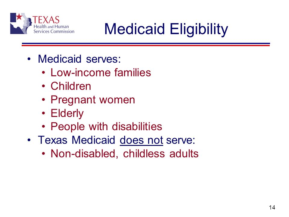 14 Medicaid Eligibility Medicaid serves: Low-income families Children Pregnant women Elderly People with disabilities Texas Medicaid does not serve: N