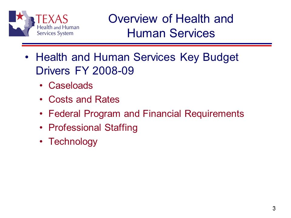 4 HHS Overview Department of Aging and Disability Services (DADS) Program Areas: Community Based Services and Supports Institutional Services LTC Provider Regulation Key Budget Drivers in FY08-09: Community Services Caseloads and Costs/Rates Nursing Facilities Caseloads and Costs/Rates Intermediate Care Facilities for People with Mental Retardation