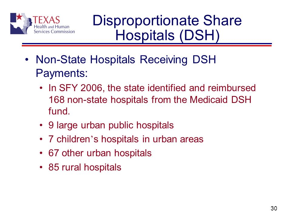 30 Non-State Hospitals Receiving DSH Payments: In SFY 2006, the state identified and reimbursed 168 non-state hospitals from the Medicaid DSH fund. 9