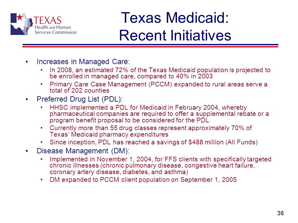 36 Texas Medicaid: Recent Initiatives Increases in Managed Care: In 2008, an estimated 72% of the Texas Medicaid population is projected to be enrolle