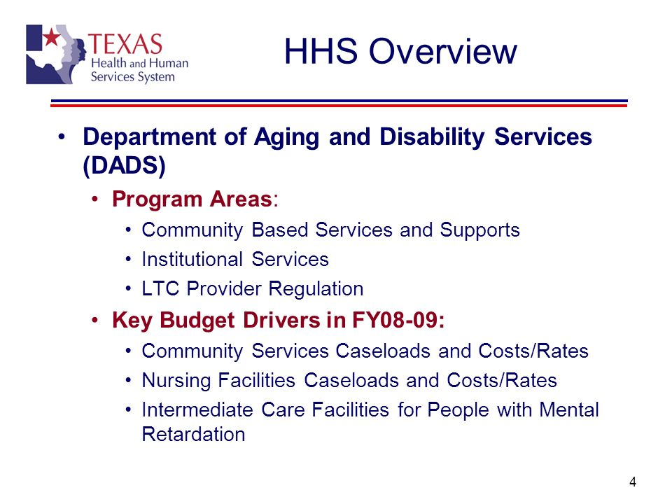 5 HHS Overview Department of State Health Services (DSHS) Program Areas: Health Services Mental Health Services (State Hospitals and Community Services) Alcohol and Drug Abuse Services Regulatory Health Programs Key Budget Drivers in FY08-09: Community Mental Health and Substance Abuse Services State Mental Health Hospital System Public Health Services Regulatory Mandates Public Health Preparedness State Laboratory Prevention of Chronic Disease Services Control of Infectious Diseases Outdated Technology