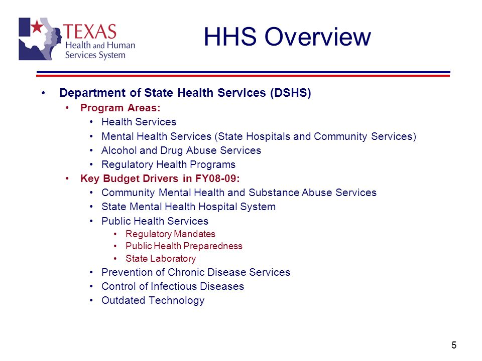 6 HHS Overview Department of Family and Protective Services (DFPS) Program Areas: Child Protective Services Adult Protective Services Child Care Regulatory Services Prevention and Early Intervention Services Key Budget Drivers in FY08-09: Foster Care Caseloads and Rates Adoption Subsidy Caseloads Child Protective Services Reform