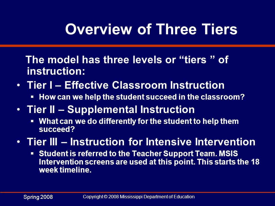 Spring 2008 Copyright © 2008 Mississippi Department of Education Overview of Three Tiers The model has three levels or tiers of instruction: Tier I –