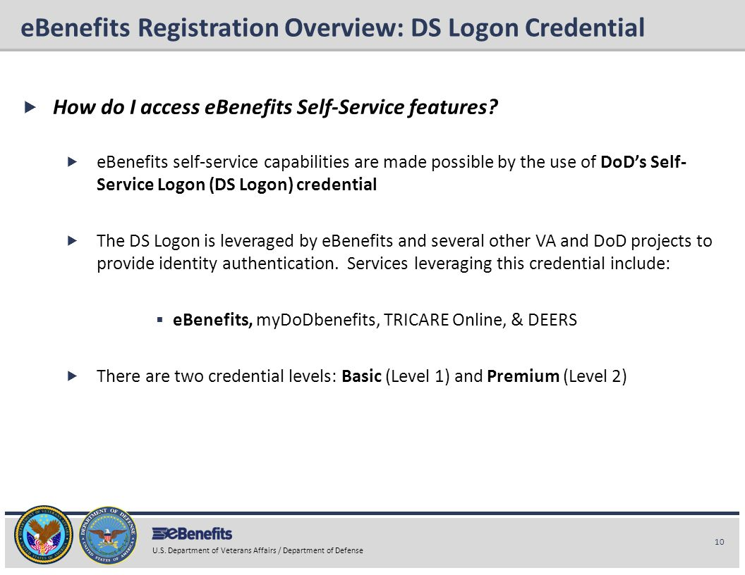 10 U.S. Department of Veterans Affairs / Department of Defense eBenefits Briefing eBenefits Registration Overview: DS Logon Credential How do I access