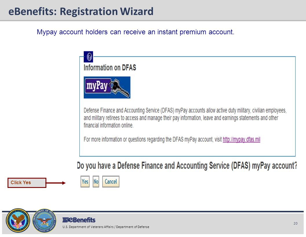 20 U.S. Department of Veterans Affairs / Department of Defense eBenefits Briefing eBenefits: Registration Wizard Mypay account holders can receive an