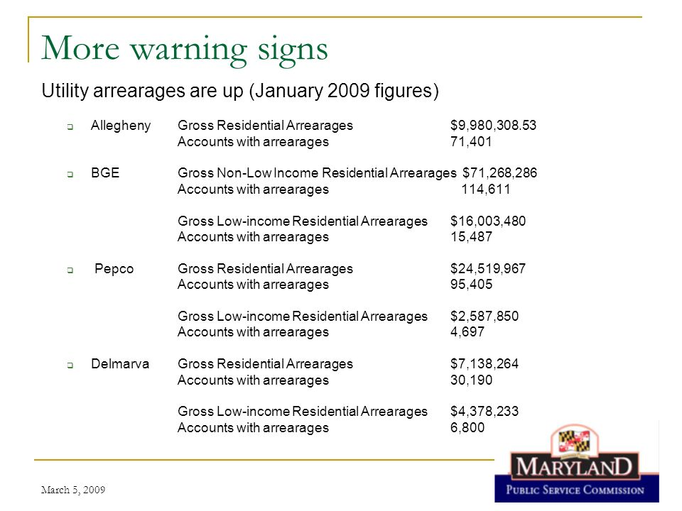 March 5, 2009 Still more warning signs Utility uncollectibles have grown substantially Allegheny2008$1,759,692 2009$119,453 BGE 2007$24,698,303 2008$44,355,655 2009 $4,300,000 Pepco2007$8,777,633 2008$12,492,064 Delmarva2007$3,810,761 2008$4,698,426